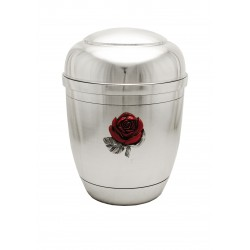Exclusive Silver Pewter with Red Rose Funeral Cremation Ashes Urn for Adult (452)