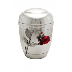 "Exclusive Silver Pewter with Silk Velvet ""Broken"" Rose Funeral Cremation Ashes Urn for Adult (453)"