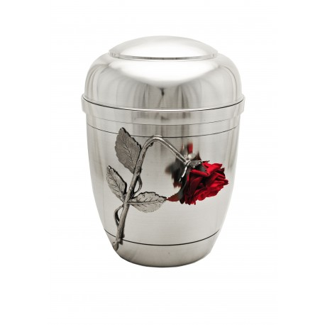 """Exclusive Silver Pewter with Silk Velvet """"Broken"""" Rose Funeral Cremation Ashes Urn for Adult (453)"""
