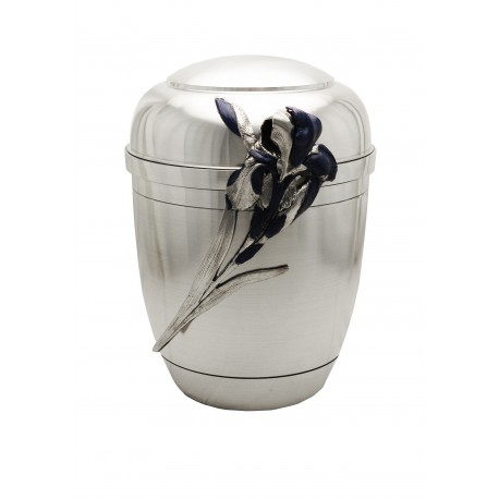 Exclusive Silver Pewter with Blue Iris Funeral Cremation Ashes Urn for Adult (454)
