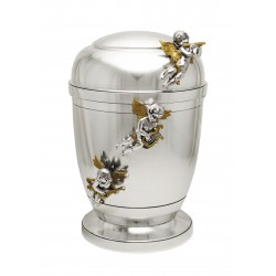 Exclusive Silver Pewter with Three Gold Angels Funeral Cremation Ashes Urn for Adult (455)