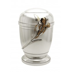 Exclusive Silver Pewter with Gold Iris Funeral Cremation Ashes Urn for Adult (457)