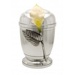Exclusive Silver Pewter with Silk Velvet Calla Lily Funeral Cremation Ashes Urn for Adult (458)