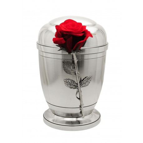 Exclusive Silver Pewter with Silk Velvet Rose Funeral Cremation Ashes Urn for Adult (459)