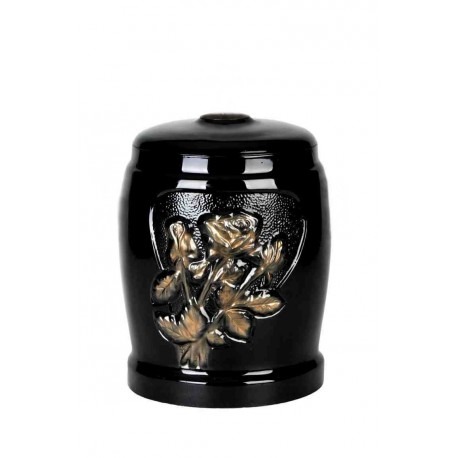 Black Composite (Stone & Marble) with Gold Rose Funeral Cremation Ashes Urn for Adult (522)