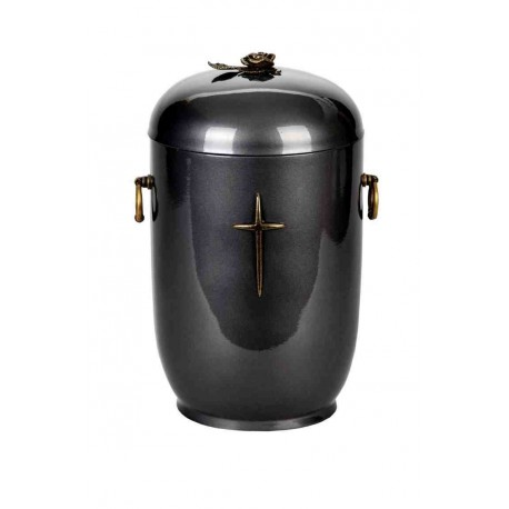 Grey Composite with Brass Cross and Rose Funeral Cremation Ashes Urn for Adult (521)