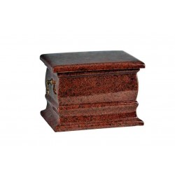 Red Granite Composite Casket Shape Funeral Cremation Ashes Urn for Adult (517)