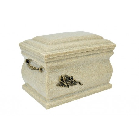 Ivory Composite Casket with Brass Calla Lily Funeral Cremation Ashes Urn for Adult (514)