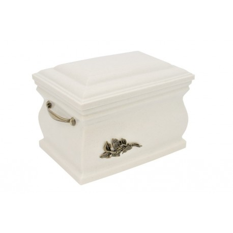 White Composite Casket with Brass Calla Lily Funeral Cremation Ashes Urn for Adult (513)
