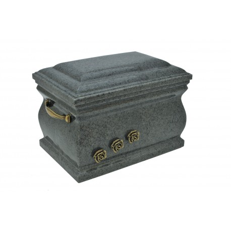 Grey Composite Casket with Brass Roses Funeral Cremation Ashes Urn for Adult (511)