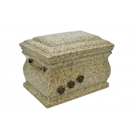 Beige Composite Casket with Brass Roses Funeral Cremation Ashes Urn for Adult (510)