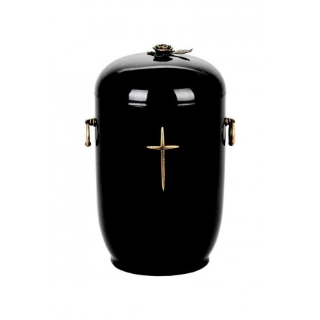 Black Composite with Brass Cross and Rose Funeral Cremation Ashes Urn for Adult (902)
