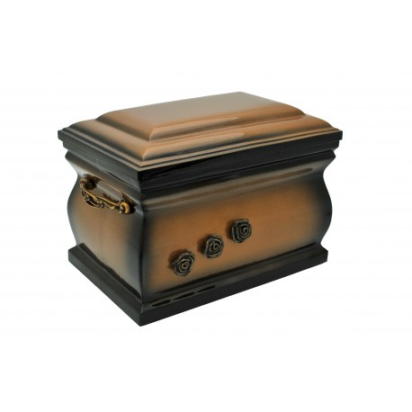 Gold Composite Casket with Brass Roses Funeral Cremation Ashes Urn for Adult (506)