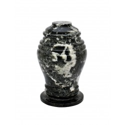 Mini Keepsake Black Zebra Marble Stone Funeral Cremation Ashes Urn (816)