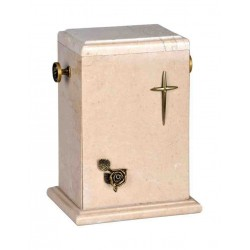 Stone Botticino Marble with Brass Cross and Rose Funeral Cremation Ashes Urn for Adult (125c)