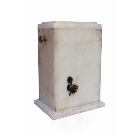 Stone White Onyx with Brass Rose Funeral Cremation Ashes Urn for Adult (128)