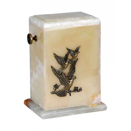 Stone White Onyx Funeral Cremation Ashes Urn with Brass Birds for Adult (124)
