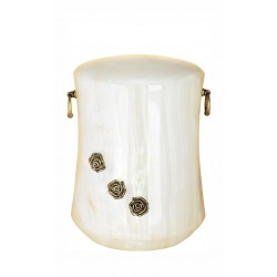 Stone White Onyx Funeral Cremation Ashes Urn with Brass Roses for Adult (116)
