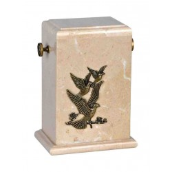 Stone Botticino Marble Funeral Cremation Ashes Urn with Brass Birds for Adult (121)