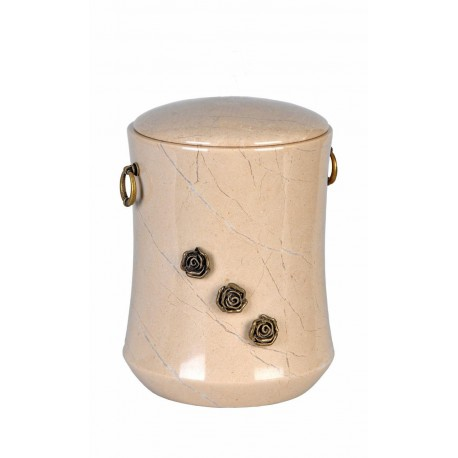 Stone Botticino Marble Funeral Cremation Ashes Urn with Brass Roses for Adult (113)