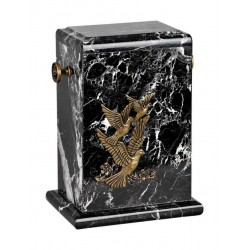 Stone Black Zebra Marble Funeral Cremation Ashes Urn with Brass Birds for Adult (122)