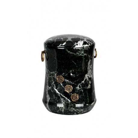 Stone Black Zebra Marble Funeral Cremation Ashes Urn with Brass Roses for Adult (114)