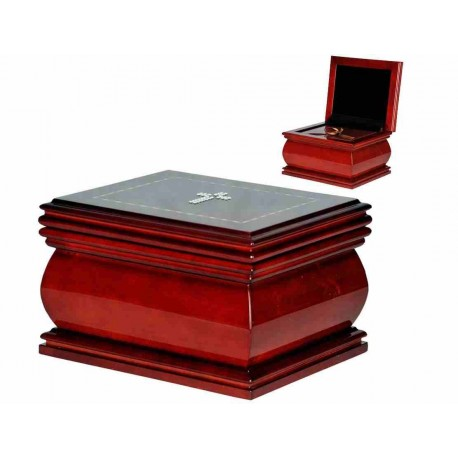 Mahogany Solid Wood Casket with Catholic Cross Swarovski Crystals Funeral Cremation Ashes Urn for Adult (211c)