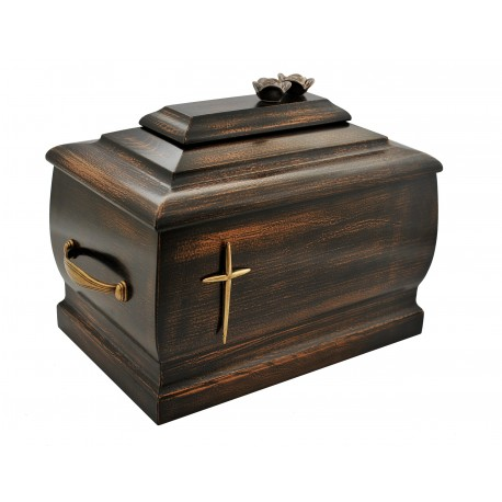 Dark Walnut Wood Casket with Roses and Brass Cross Funeral Cremation Ashes Urn Adult (206c)