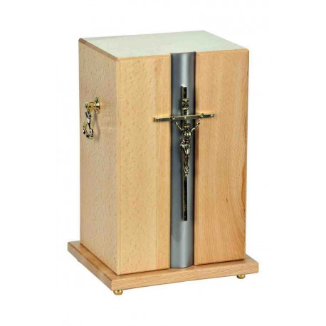 Catholic Cross Light Natural Solid Wood Funeral Cremation Ashes Urn for Adult (912)