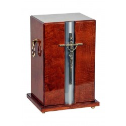 Catholic Cross Light Mahogany Solid Wood Funeral Cremation Ashes Urn for Adult (911)