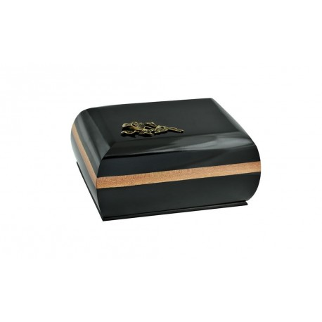 Black Solid Wood Casket Shape with Brass Calla Lily Funeral Cremation Ashes Urn for Adult (216)