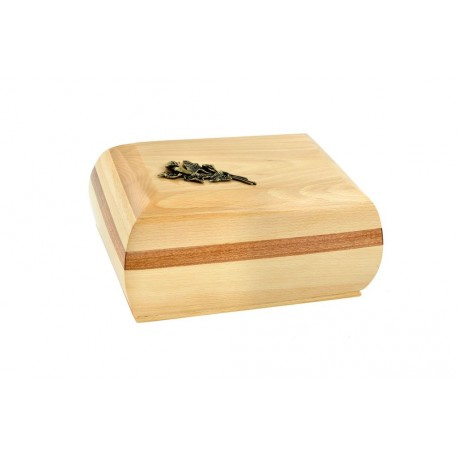 Natural Solid Wood Casket Shape with Brass Calla Lily Funeral Cremation Ashes Urn for Adult (214)
