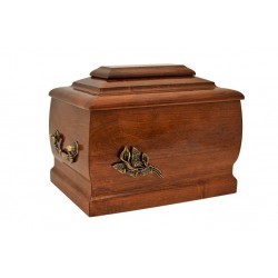 Solid Wood Casket Funeral Cremation Ashes Urn with Brass Calla Lily for Adult (213)