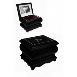 Black Solid Wood Casket with Pigeons Swarovski Crystals Funeral Cremation Ashes Urn for Adult (212p)