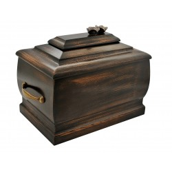 Dark Walnut Wood Casket Funeral Cremation Ashes Urn with Roses for Adult (206)