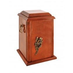 Wood Casket Funeral Cremation Ashes Urn with Brass Calla Lily for Adult (203)
