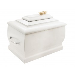 White Wood Casket Funeral Cremation Ashes Urn with Roses for Adult (207)