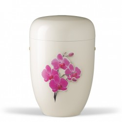 White Metal with Pink Orchid Funeral Cremation Ashes Urn for Adult (704)