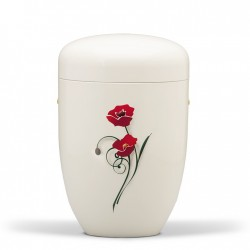 White Cream with Red Poppies Biodegradable Funeral Cremation Ashes Urn for Adult (607)