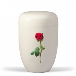 White with Red Rose Biodegradable Funeral Cremation Ashes Urn for Adult (609)