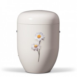 White with Daisies Biodegradable Funeral Cremation Ashes Urn for Adult (610)