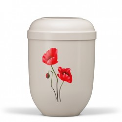 White with Red Poppies Biodegradable Funeral Cremation Ashes Urn for Adult (612)
