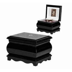 Black Solid Wood Casket with Catholic Cross Swarovski Crystals Funeral Cremation Ashes Urn for Adult (212c)