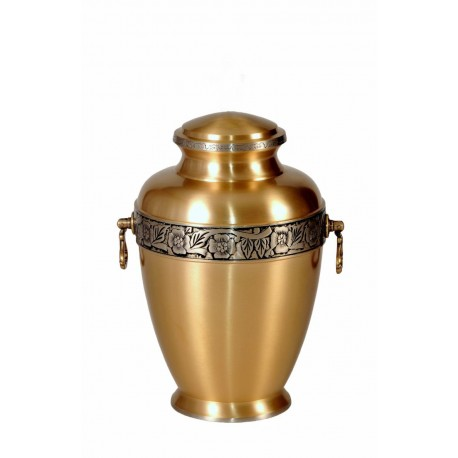 Gold Solid Brass Funeral Cremation Ashes Urn for Adult (303)