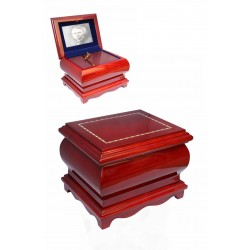 Mahogany Solid Wood Casket with Photo Picture Frame Funeral Cremation Ashes Urn for Adult (210)