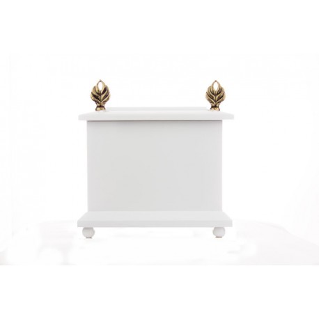 White Solid Wood Casket with Brass Leaves Funeral Cremation Ashes Urn for Child (356)