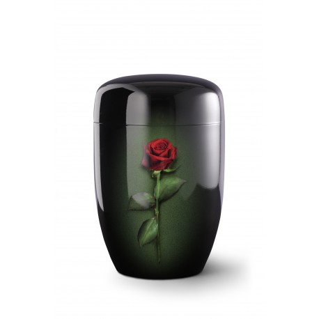 Black Metal with Airbrushed Big Red Rose Funeral Cremation Ashes Urn for Adult (731)