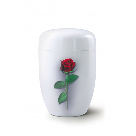 White Metal with Airbrushed Big Red Rose Funeral Cremation Ashes Urn for Adult (732)