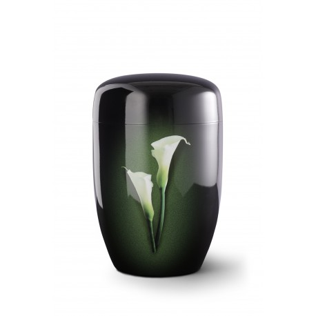 Black Steel Metal with Airbrushed Calla Lily Funeral Cremation Ashes Urn for Adult (733)