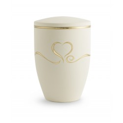 Ivory Metal with Gold Heart Funeral Cremation Ashes Urn for Adult (737)